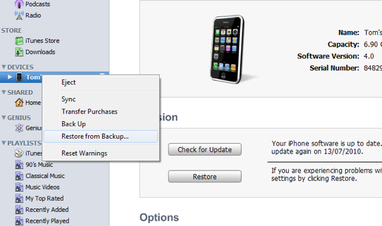 how to set up iphone with backup settings