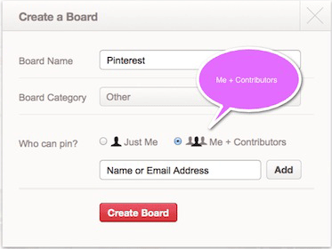 Pinterest Contributors Input Box