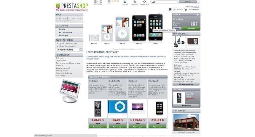 Prestashop shopping cart screenshot